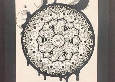 Connor Lanteigne,  «Flowing simitric», crayon à l'encre, VA2016, CJE Lapinière