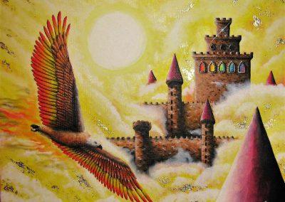 Jessy Poitras, «Le maître du ciel», peinture à l'huile, VA2017, CJE Cantons de l'Est