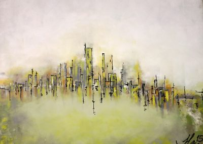 Julie Lecours, «downtown», huile, VA2017 CJELaPrairie