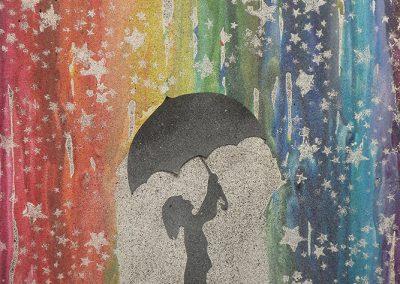 Carine Du Sablon, «Pluie étoilée», collage et aquarelle, VA2016 CJE La Prairie