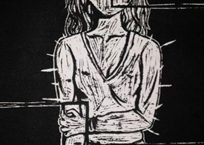 Marjorie Poirier, «Bordeline», Linogravure sur papier de riz, VA2016 CJE St-Hubert
