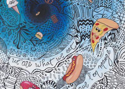 Marilène Lucas, « On devient ce que l'on mange», acrylique et sharpie, VA2018, CJEMY