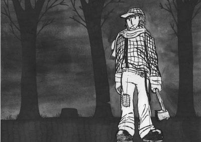 Vincent Tremblay, «Tire-toi une bûche», dessin à l'encre de chine, VA2018, CJELaPrairie
